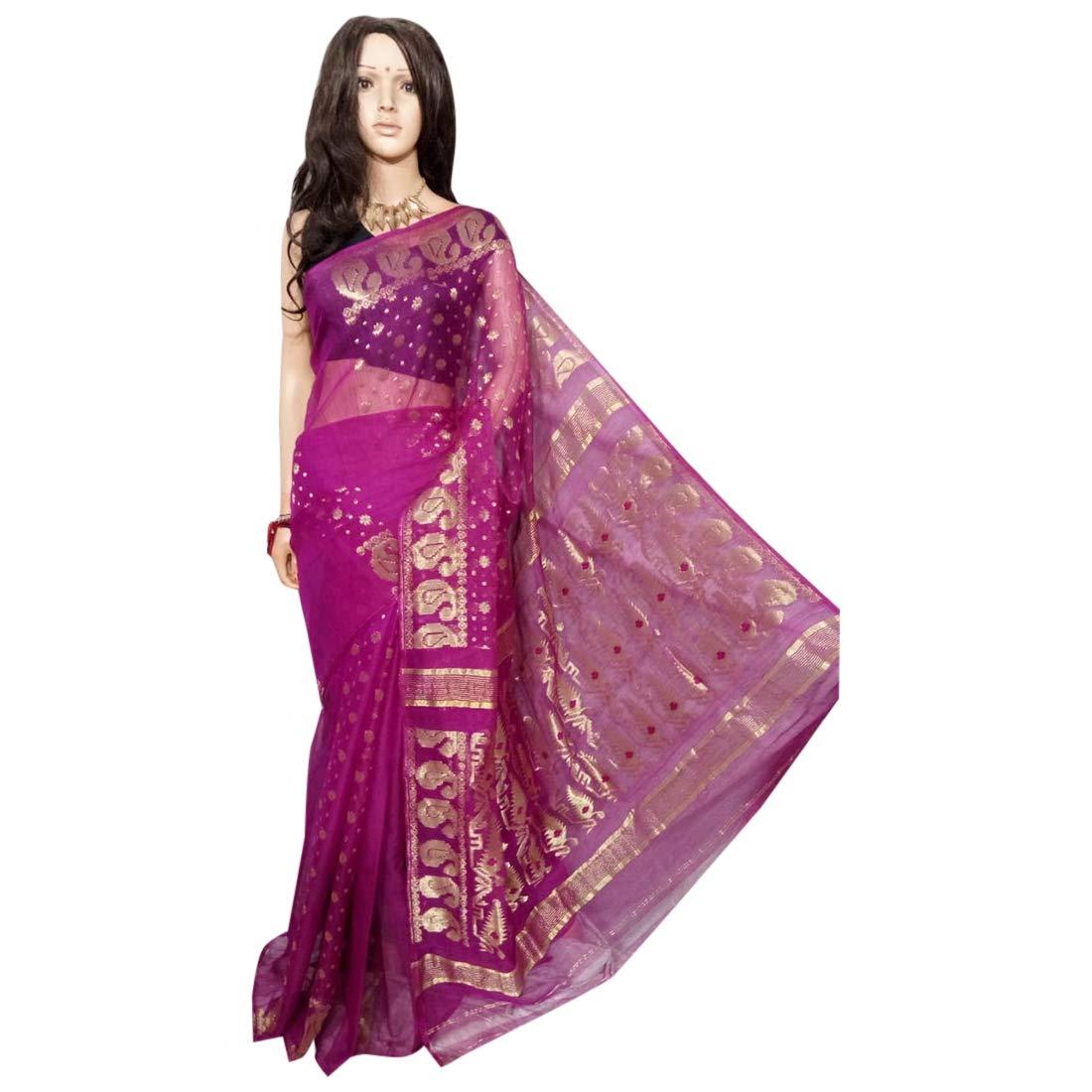 Indian Ethnic Handloom Purple Zari work Zamdani Saree Party Women Wear Sari 101a