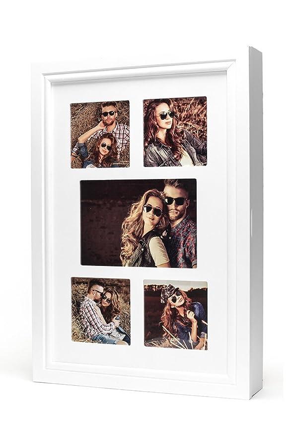 Schmuckkasten Fotorahmen Bilderrahmen Spiegel in weiß für 5 Fotos ...