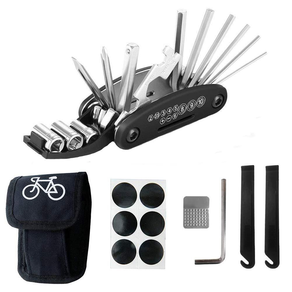 L/&H Gadgets Trousse /à Outils de r/éparation de v/élo Trousse doutils de v/élo Outils R/éparer pour Velo 16 en 1 Ensemble Bicyclette R/éparation Kit Outil Multifonction