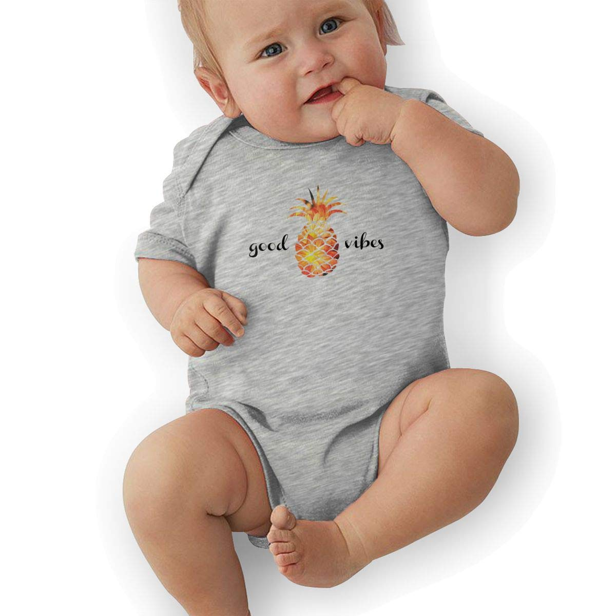 Pineapple Good Vibes Baby Boys Girls Jumpsuits Short Sleeve Romper Bodysuit Bodysuit Jumpsuit Outfits Gray