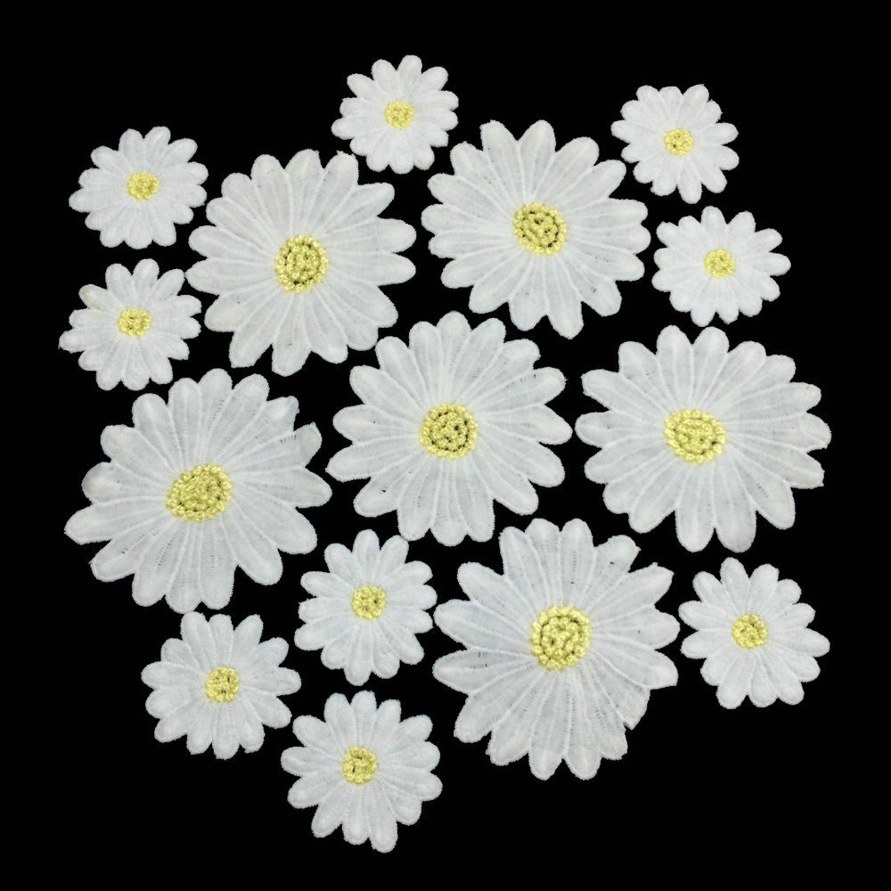Amazon daisy flowers embroidered sew on applique floral lace amazon daisy flowers embroidered sew on applique floral lace patch milk fiber sewing trims clothes wedding dress craft diy white fjtang arts izmirmasajfo