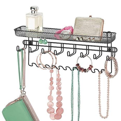 mDesign Colgador de joyas en metal – Joyero organizador, ideal para colgar collares, pendientes, pulseras y otros accesorios – Práctico colgador de ...