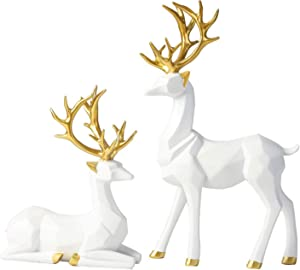 Bliweek Nordic Style Origami Elk,Resin Sitting Standing Deer Statues,Christmas Reindeer Figurines,Ornaments Living Room TV Cabinet Wine Cabinet Gifts for Home Decoration(One Pair) (White)