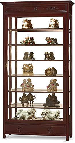 China Furniture Online Dark Cherry Rosewood Longevity Design Curio Cabinet