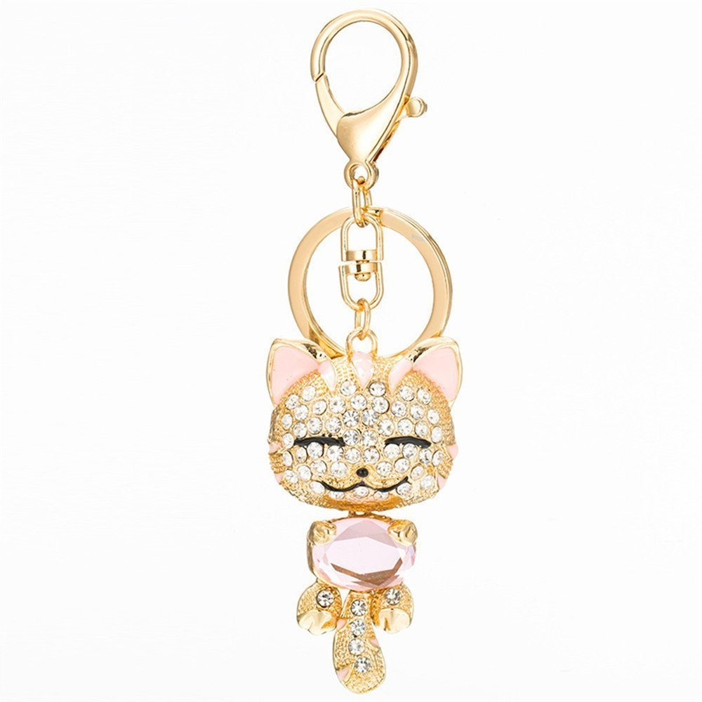 Amazon.com : Cute Kitten Cat Bling Crystals Rhinestone Key Chain Keyring Holder Handbag Charm For Pet Lover (Red) : Office Products