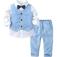 MSemis Conjuntos de Fiesta para Niño Camiseta Manga Larga con Pajarita+Pantalones Largos con Tirantes Traje Elegante de…