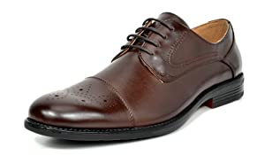 Bruno MARC Men's Oxford Modern Classic Lace Up Leather Lined Perforated Cap-Toe Dress Oxfords Shoes