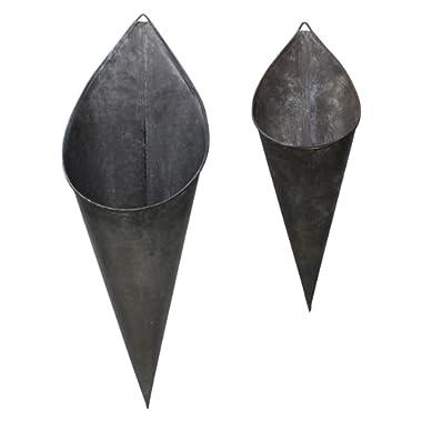 e2243140361e2 Hanging Metal Cone Wall Vases - Rustic Farmhouse Style