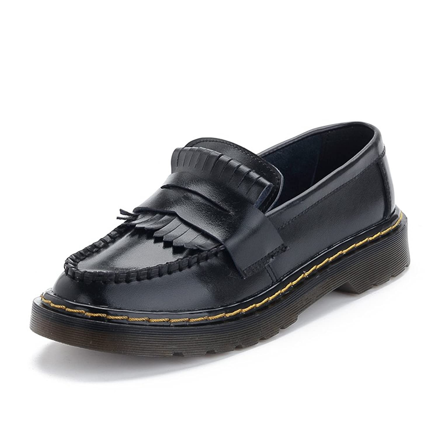 GIY Women Fashion Tassels Round Toe Low Flat Heel Slip-on Loafers Casual Oxford Shoes