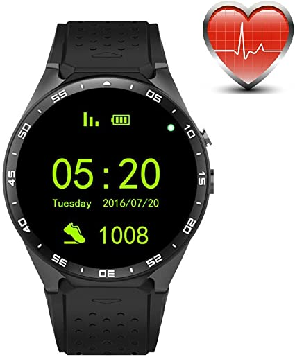 King Wear KW88 3G WiFi Smart Watch Cell Phone All-in-One Bluetooth Android SIM Card with GPS,Camera,Heart Rate Monitor,Google map (Black/Tarnish)