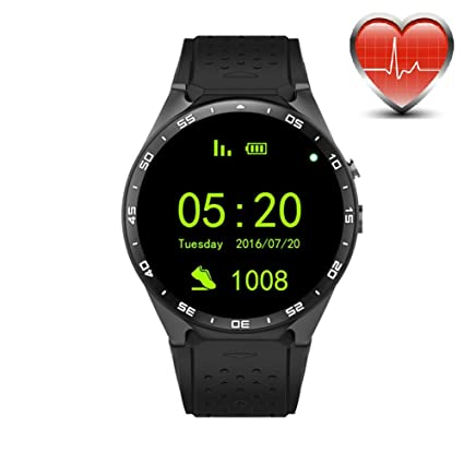 70cecc164 Image Unavailable. Image not available for. Color: King Wear KW88 3G WiFi  Smart Watch Cell Phone All-in-One Bluetooth Android