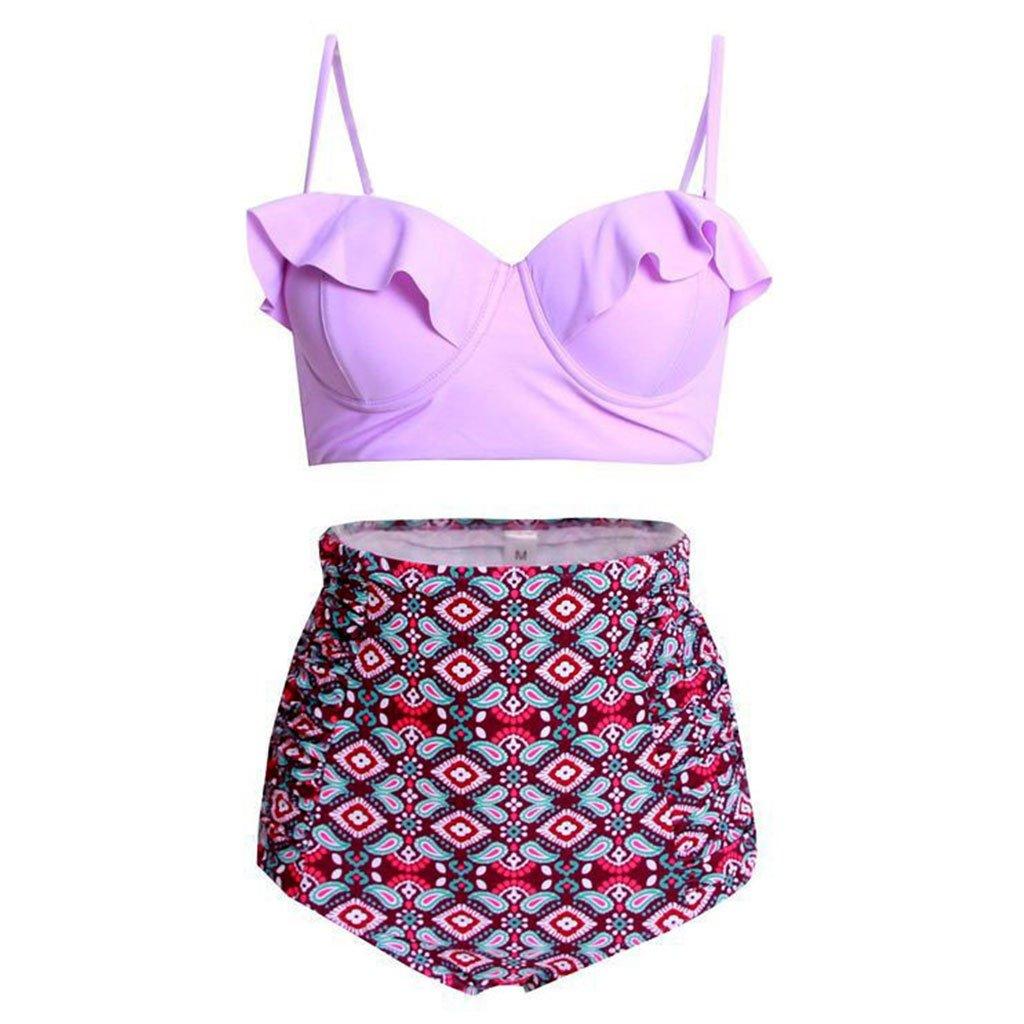 SYlive Women Vintage Polka Dot High Waisted Bathing Suits Bikini 2 Pieces (L, PAT3#)