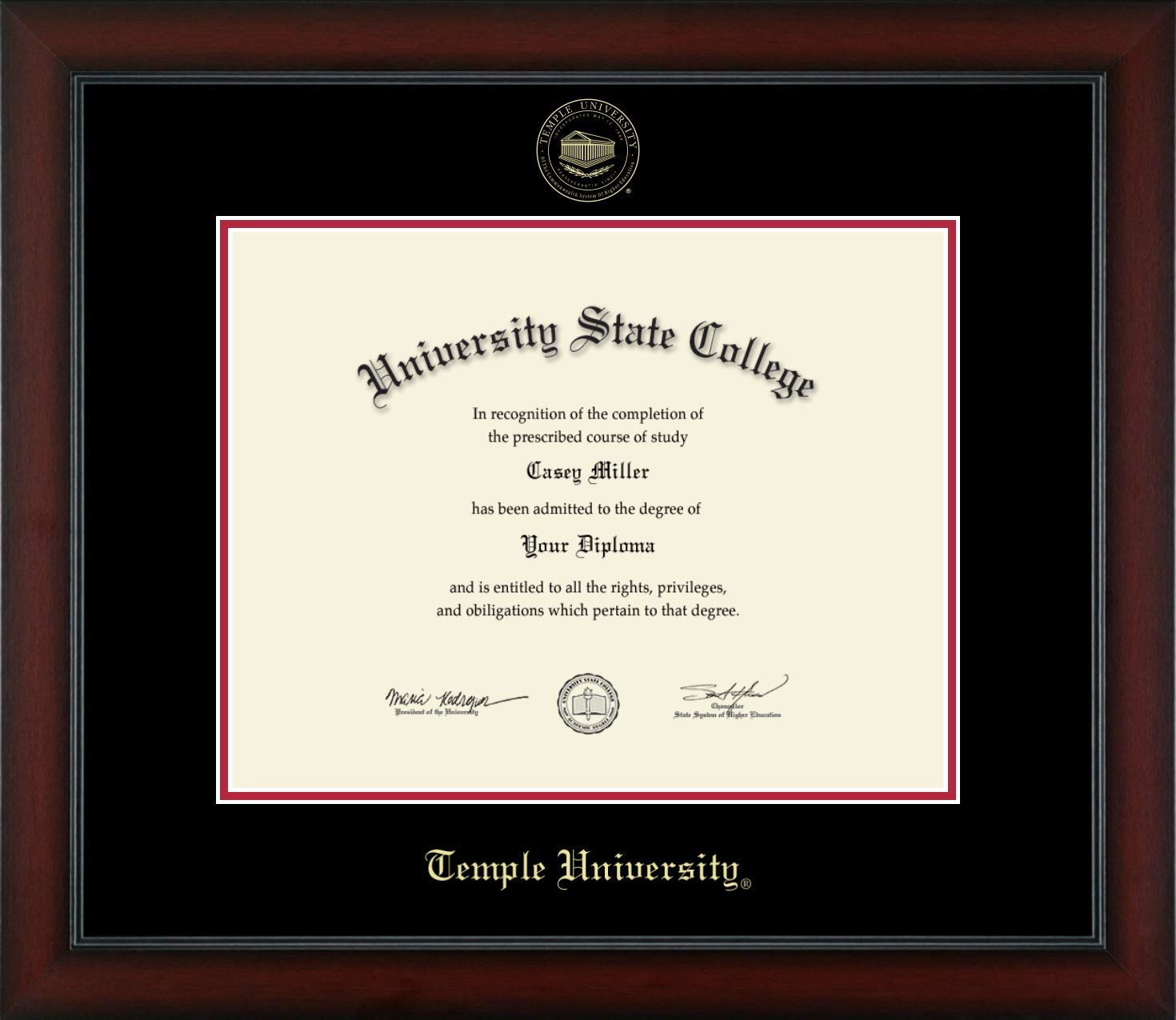 Temple University - Officially Licensed - Gold Embossed Diploma Frame - Diploma Size 14'' x 11''