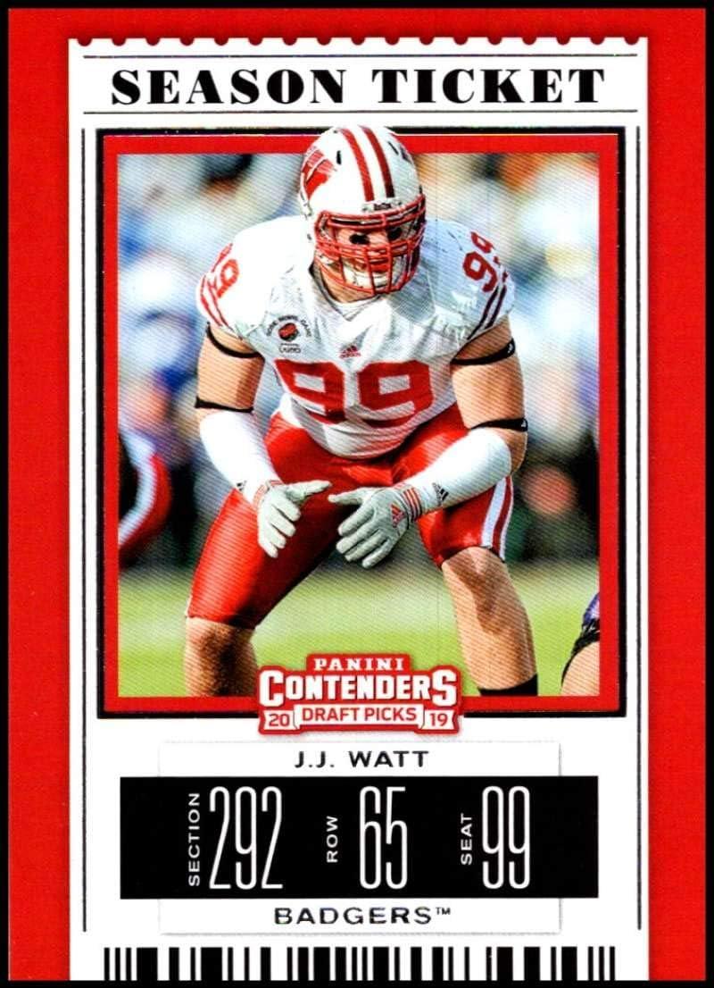 Watt Wisconsin Badgers NCAA Football Trading Card 2019 Panini Contenders Draft Season Ticket #43 J.J