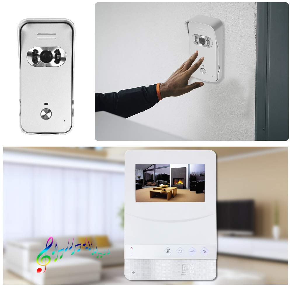 Intercomunicador Bidireccional OWSOO Videoportero con Pantalla LCD de 4.3 Pulgadas Intercomunicador de V/ídeo Impermeable Soporte Visi/ón Nocturna por Infrarrojos
