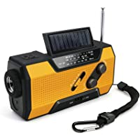 Cover Portable Emergency Solar Hand Crank NOAA Weather Radio, for Household and Outdoor Emergency with AM/FM, Zoom LED Flashlight, LED Reading Lamp, 2000mAh Power Bank and SOS Alarm (Orange)