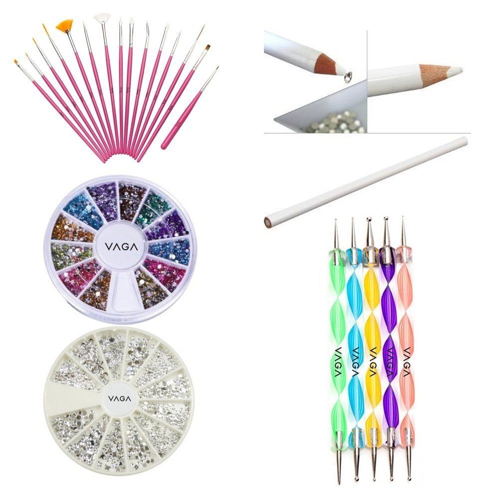 Great Quality Professional Nail Art Decorations Tools Set Kit With White Wax Rhinestones Picker Pencil / Pen, Silver Gemstones, Jewels In 12 Different Colors, 15 Pink Brushes / Stripers / Liners And 5 Double Ended Dotting Marbling Utensils By VAGA©