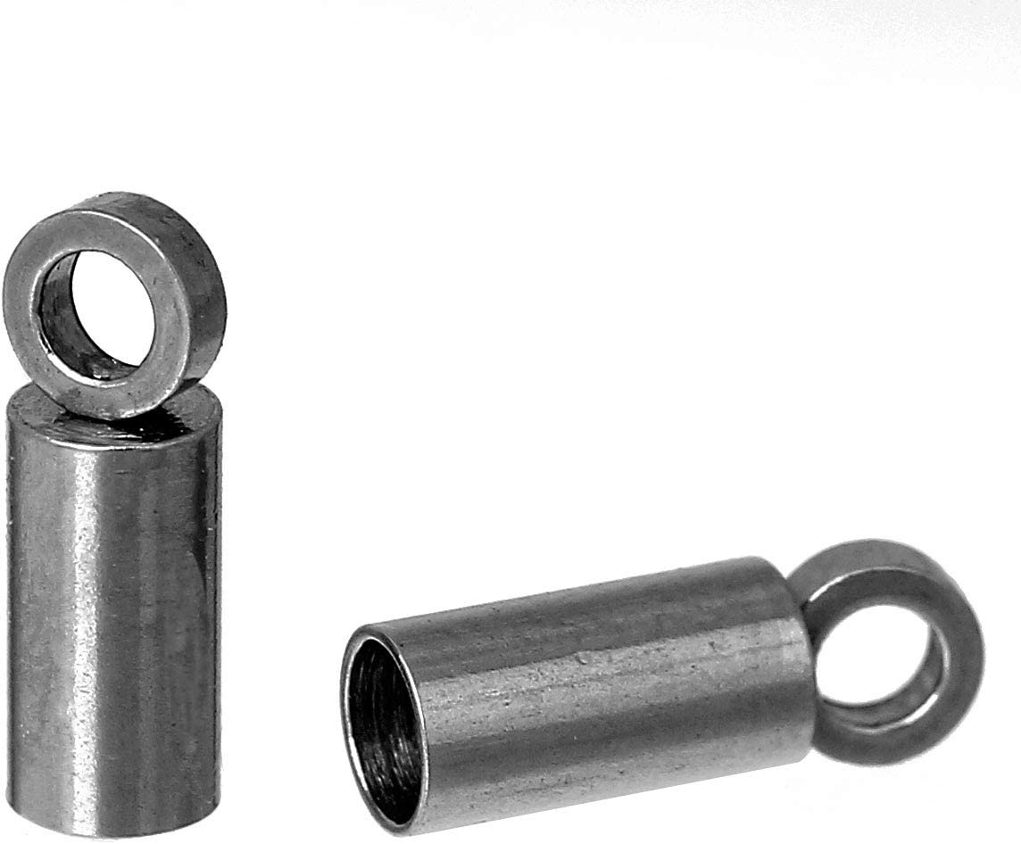 Long Cylinder JGFinds Cord End Caps 30 Pack Stainless Steel for 2mm Cord