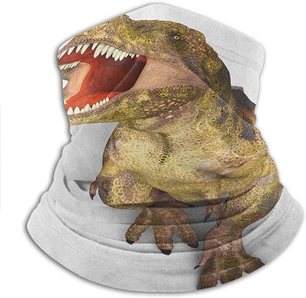 Neck Gaiter Warmer Dinosaur Multi Scarf Sun Protector Image of Roaring Rex Realistic Historical Animal with Sharp Teeth for Fishing, Hiking, Cycling & ATV Riding 10x11.6 Inch