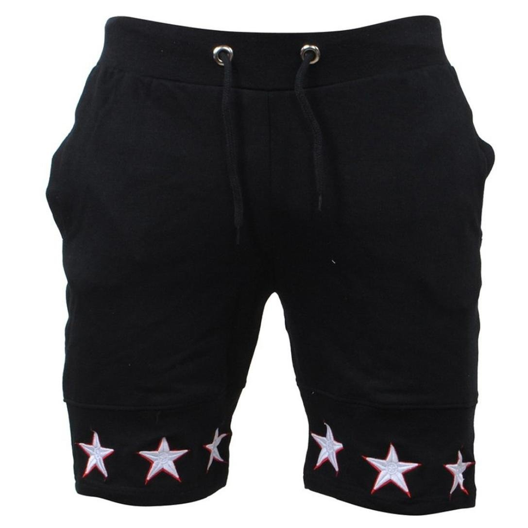 AMSKY❤Men's Shorts, Men Star Casual Pocket Beach Soft Cotton Elastic Workout Jogger Gym Active Sports Work Shorts (S, Black)