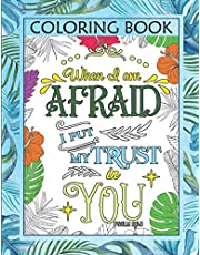 Coloring Book: Color The Words of Jesus - Christian Scripture Bible Verse For Calm & Good Vibes With Over 80 Tropical Themed Single Sided Designs.