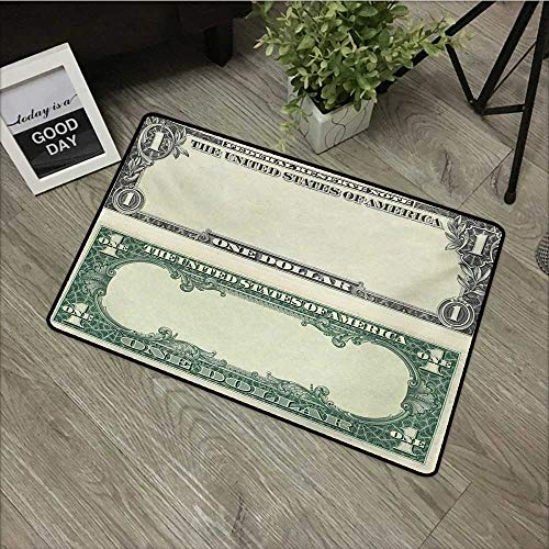 (Bathroom door mat W35 x L47 INCH Money,One Dollar Bill Buck Design American Federal Reserve Note Pattern Wealth Symbol,Pale Green Grey Our bottom is non-slip and will not let the baby slip,Door Mat Ca)