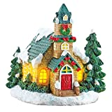 Collections Etc Lighted Snowy Festive Church Incense Burner with 8 Incense Cones