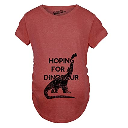 d73773546e Crazy Dog T-Shirts Maternity Hoping for a Dinosaur Funny Baby Pregnancy  Announcement T Shirt at Amazon Women's Clothing store: