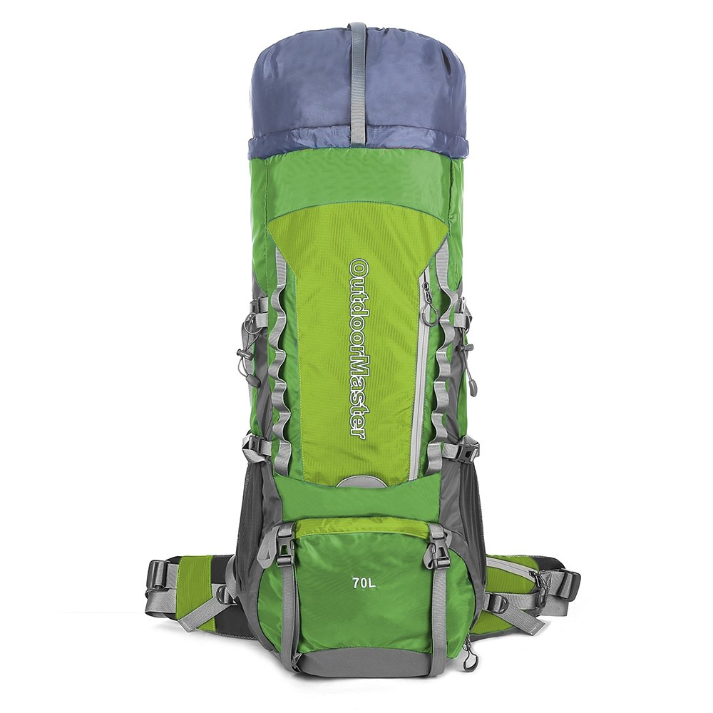 4e9c1ca782 OutdoorMaster 70L+5L Internal Frame Backpacker Hiking Backpack with Waterproof  Cover (Green)