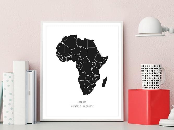 Amazon.com: Africa Map Art Print, Africa Map Print, Africa Art