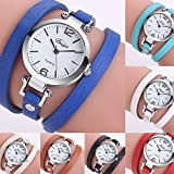 Remiel Store Women Girls Student Fashion Leather Bracelet Circle Watch With Hidden Clasp