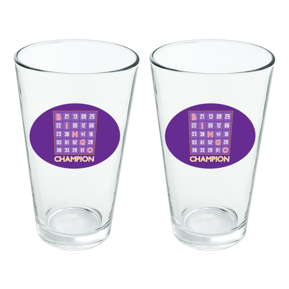 Bingo Champion Novelty 16oz Pint Drinking Glass Tempered Set of 2 by Graphics and More