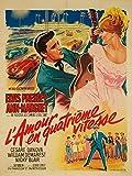 L'Amour en Quatrieme Vitesse - Elvis Presley Vintage Poster (artist: Soubie) France c. 1964 (24x36 Giclee Gallery Print, Wall Decor Travel Poster)