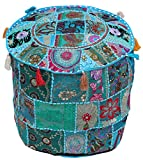 """Pouf Cover - PREMIUM QUALITY - Southwest Ottomans Moroccan Pouf 18.5""""x14"""" Handmade Bohemian Foot Stool in 100% Cotton Fabric with Patchwork"""