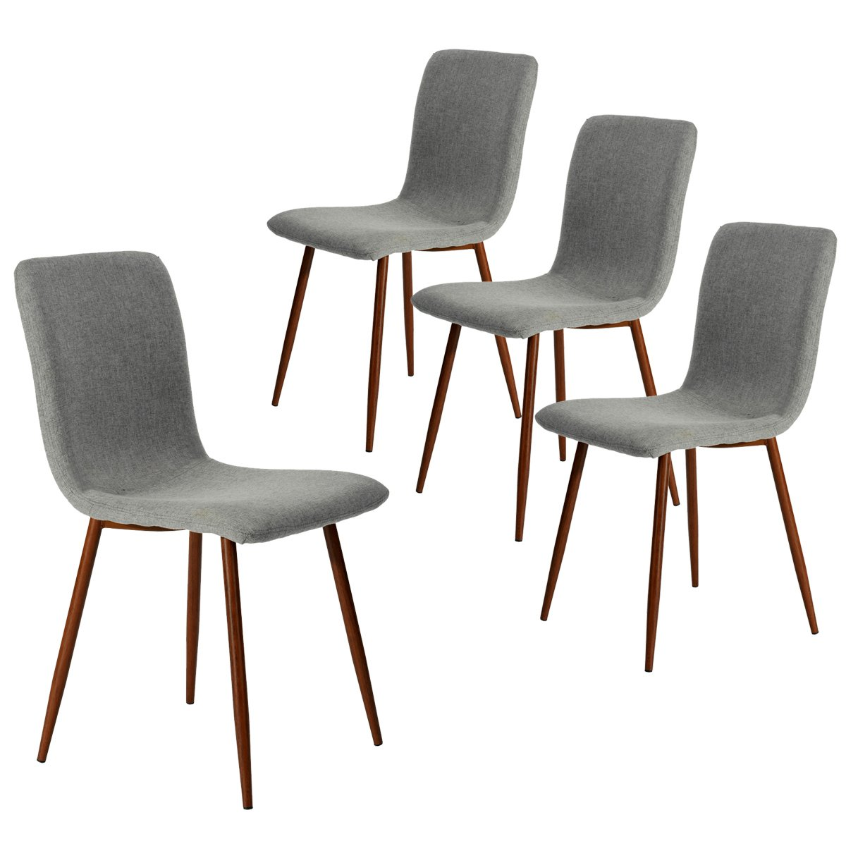 Coavas Set Of 4 Kitchen Dining Chairs Fabric Cushion Side Chairs With  Sturdy Metal Legs For Home Kitchen Living Room, Grey U2026
