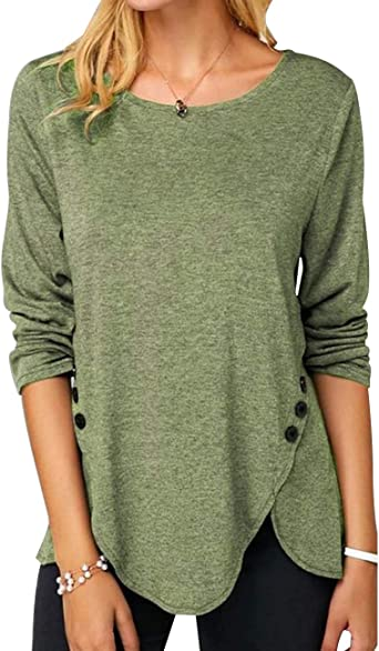 Womens Long Sleeve Irregular Tunic Tops Blouse Ladies Casual Loose T Shirt Tee
