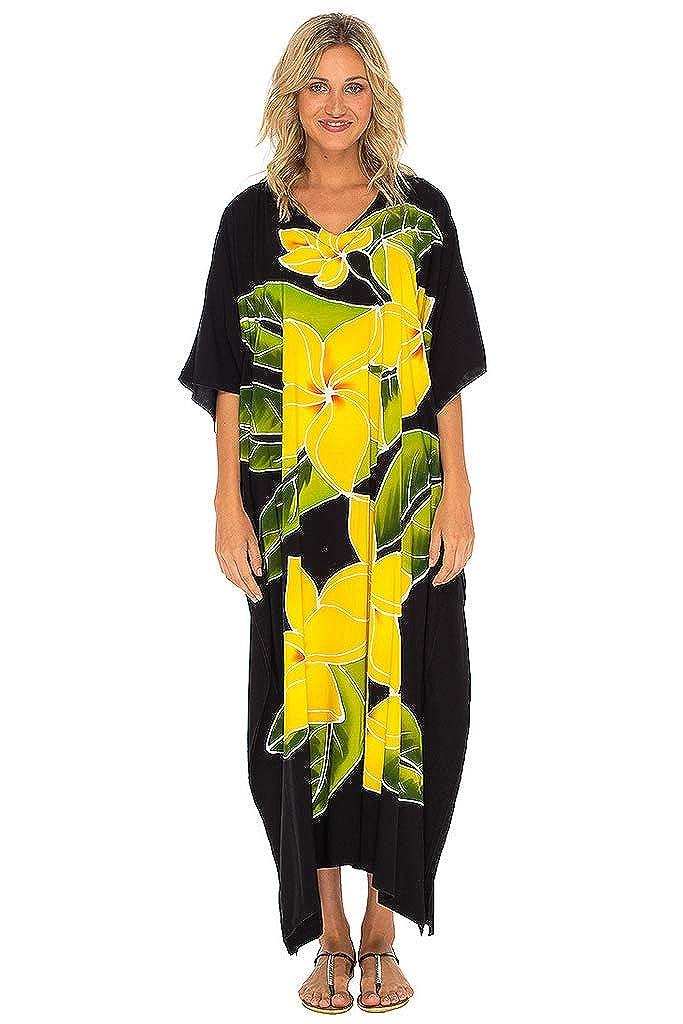 Black SHUSHI Women Maxi Kaftan Dresses Loose Beach Swim Cover Up Long Floral Caftan