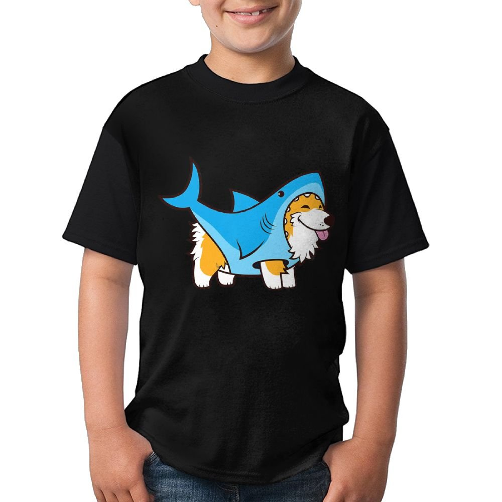 Corgi Shark Youth Boys/Girls Summer Short Sleeve Tops T-Shirt