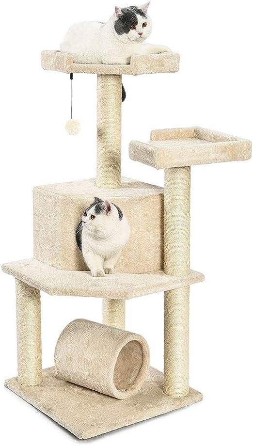 AmazonBasics - Torre en árbol con túnel y poste rascador para gatos, 48,3x48,3x109,2 cm, beige: Amazon.es: Productos para mascotas