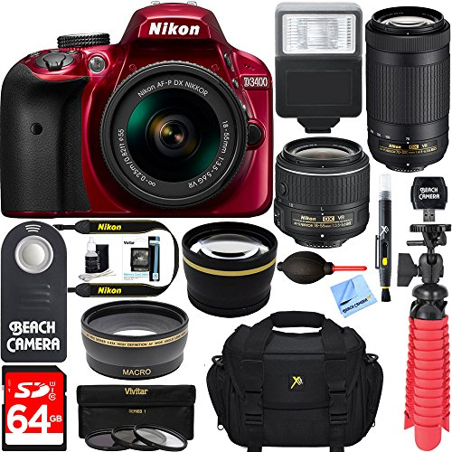 Nikon D3400 24.2 MP DSLR Camera + AF-P DX 18-55mm & 70-300mm VR NIKKOR Lens Kit + Bundle 64GB SDXC Memory + Photo Bag + Wide Angle Lens + 2x Telephoto Lens + Flash + Remote +Tripod+Filters (Red) Review
