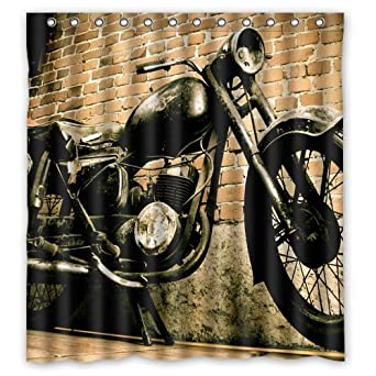 Vintage Motorcycle And House Custom Design Waterproof Shower Curtain Bathroom Curtains Bath 66x72 Inches