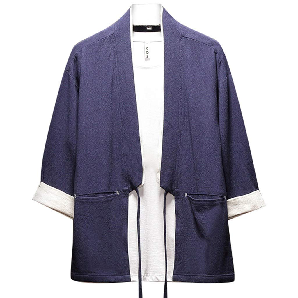 Mens Summer t Shirts Short Sleeve,Tronet Men's Summer Cotton and Hemp Buttonless Seven-Minute Sleeve Blouse Top by Tronet Men's tops
