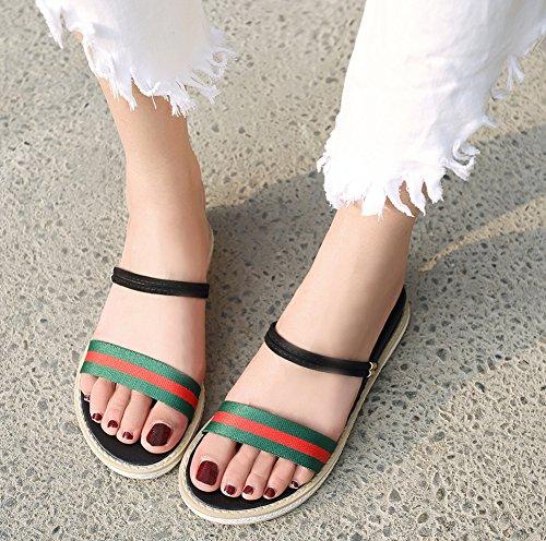 Plage on Slip Rayures de Chaussures Sandales Solide Vert Aisun Femme xPw7qvSfq