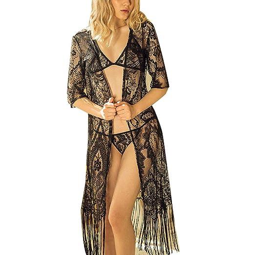 Lmx+3f Women Sexy Tassel Lace Soft Comfy Sleepwear Babydoll Lingerie Robe  Set with Underwear 59273fd4e