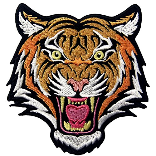 (The Roaring Bengal Striped Tiger Embroidered Badge Iron On Sew On)