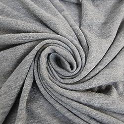 Heather Gray Stretch Jersey With Merino-like Wool Brush Hacci Brush Knit Fabric