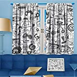 AmaPark Art Curtains Collection,Video Games Sketch Style Gaming Design Racing Monitor Device Gadget Teen Blak White Window Curtain Set of 2 Panels,Living Room,108''W By 63''L Pair