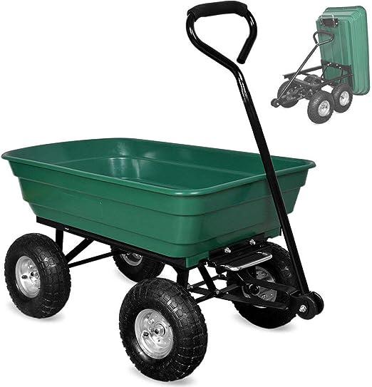 Ann Carretilla del jardín, Remolque al Aire Libre Resistente del camión volquete al Aire Libre, 4 Ruedas neumáticas del neumático, Capacidad de Carga 75l 150kg: Amazon.es: Hogar