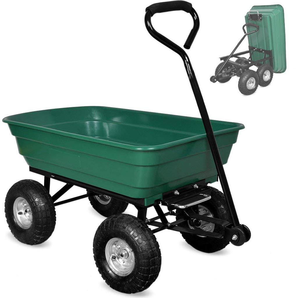 ガーデントロリー、ヘビーデューティー屋外ダンプトラックユーティリティトレーラー、4個の空気圧タイヤホイール、負荷容量75l 150kg B07GNDMP66