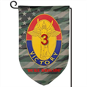 3rd BDE Combat Tm Duke Brigade 1st ID Decorative Garden Flag Home Decor Yard Banner 12.5X18 Inch Printed Double Sided Fillet